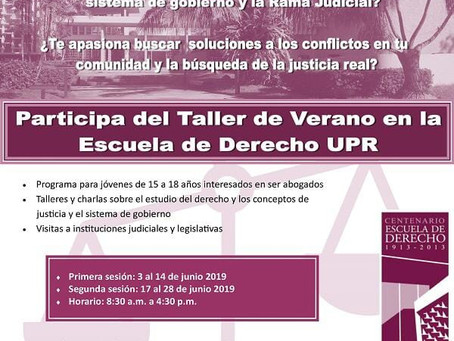 Taller de Verano en la UPR para interesados en estudiar leyes