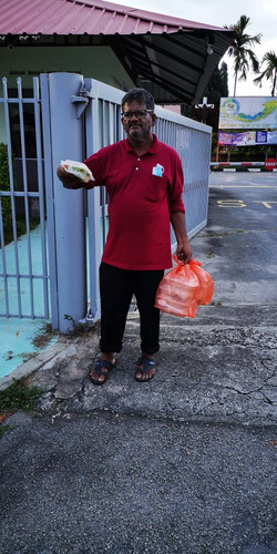 Giving food to the poor