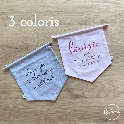 Fanion de naissance personnalisable - 3 Coloris