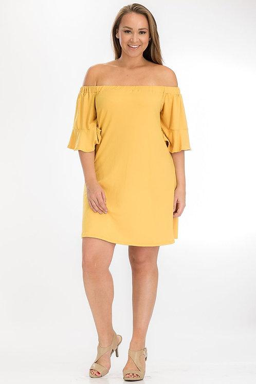Mustard Off-Shoulder Tube Dress