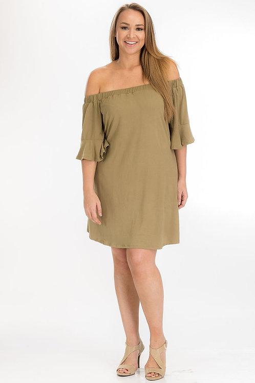 Olive Off-Shoulde Tube Dress