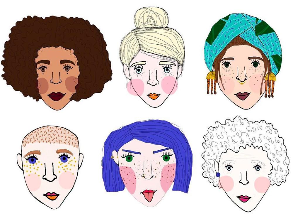 Illustration verschiedene Frauen Konfettikrake