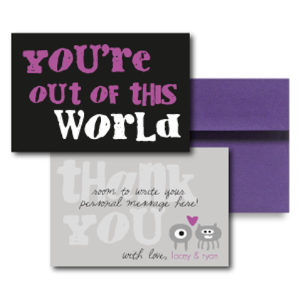 Out of This World Flat Thank You Note Card + Envelope