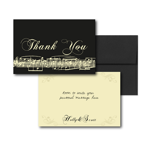 Love Orchestrated Flat Thank You Note Card + Envelope