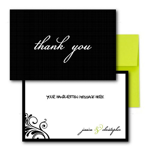 Flourish of the Pen Flat Thank You Note Card + Envelope