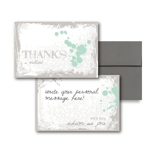 Splash of Awesome Flat Thank You Note Card + Envelope