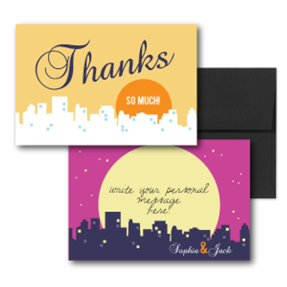 Night and Day Flat Thank You Note Card + Envelope