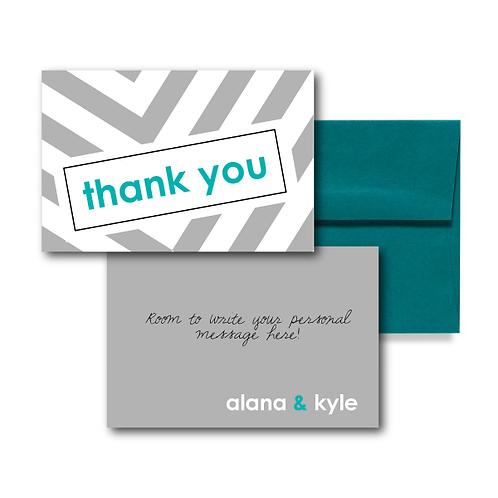 City Stripe Flat Thank You Note Card + Envelope