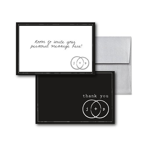 Eternity Stamp Flat Thank You Note Card + Envelope