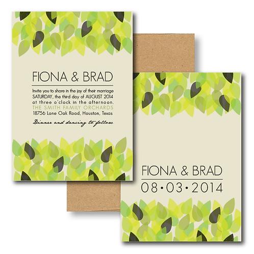 New Leaf Standard Invitation + Envelope