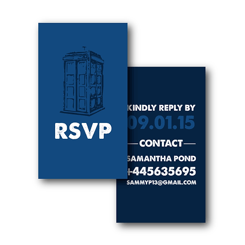 Dr. Who Phone/Email RSVP Insert Card