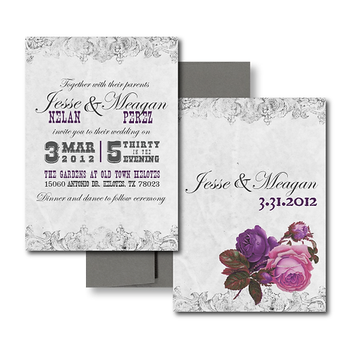 White and purple spanish rose wedding invitation
