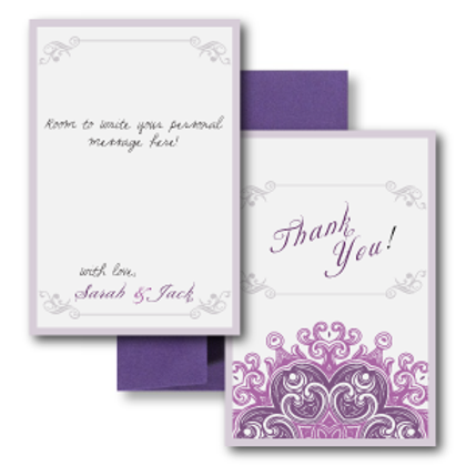 Lovely Lace Flat Thank You Note Card + Envelope