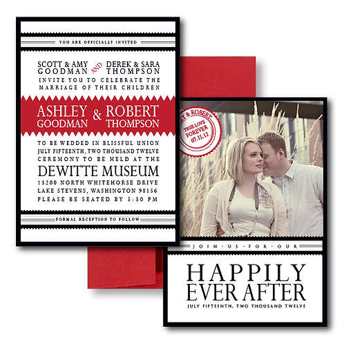 Our Love Story Photo Invitation + Envelope