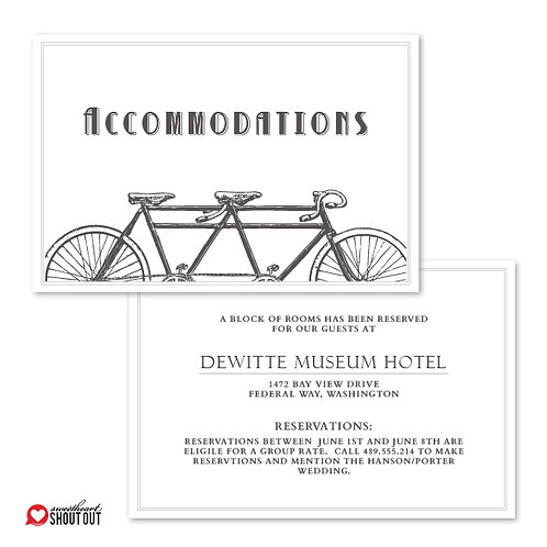 Love is a Two Seater Accommodations / Info Card
