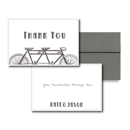 Love is a Two Seater Flat Thank You Note Card + Envelope