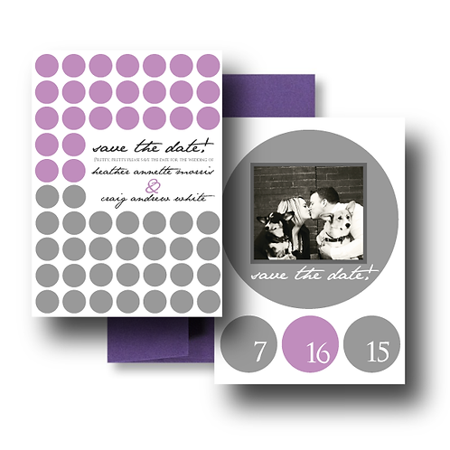 Hot Dots Save the Date + Envelope