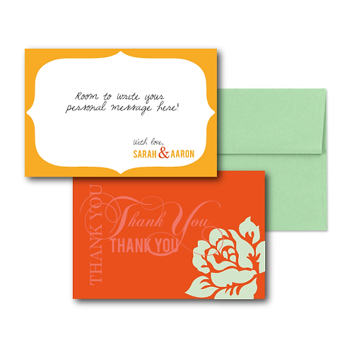 Paint the Roses Flat Thank You Note Card + Envelope