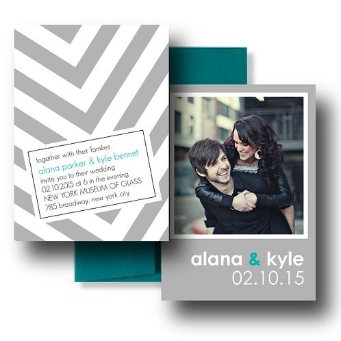 City Stripe Photo Invitation + Envelope