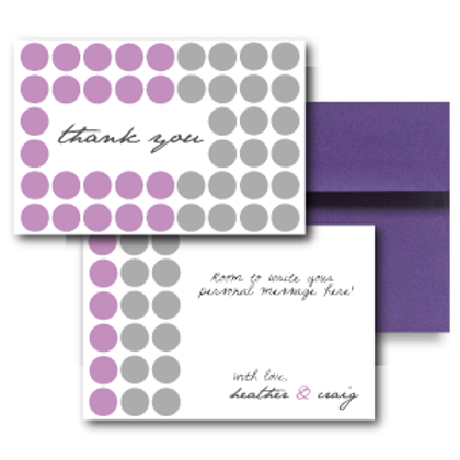 Hot Dots Flat Thank You Note Card + Envelope