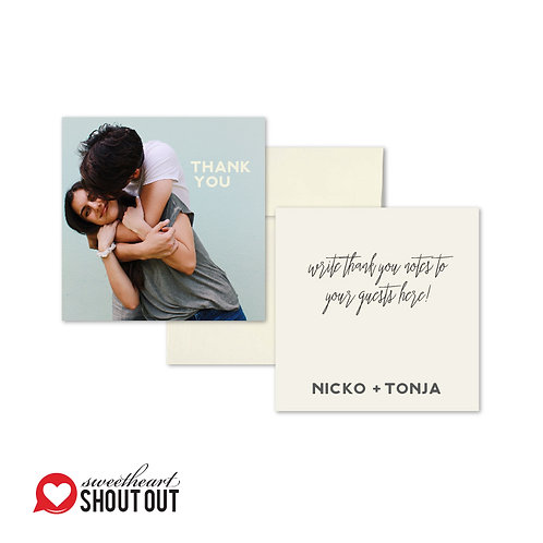 Big Day Flat Thank You Note Card + Envelope