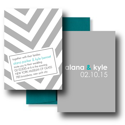 City Stripe Standard Invitation + Envelope