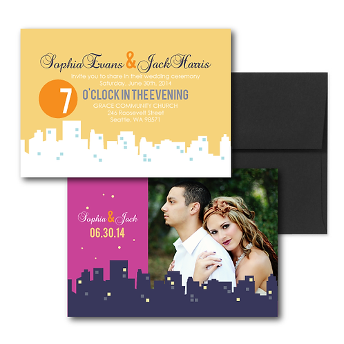 Night and Day Photo Invitation + Envelope