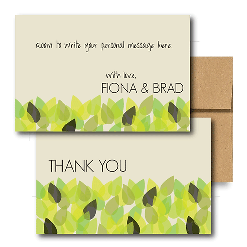 New Leaf Flat Thank You Note Card + Envelope