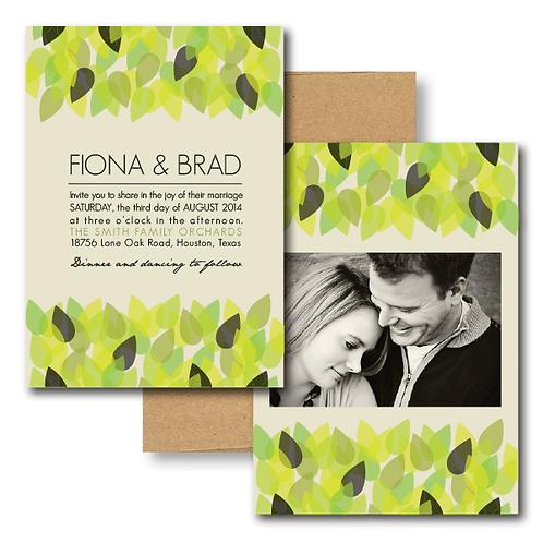 New Leaf Photo Invitation + Envelope