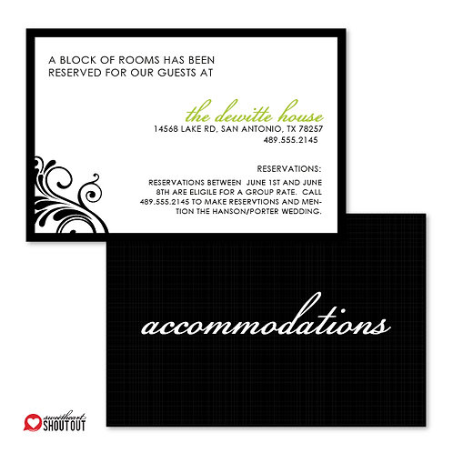 Flourish of the Pen Accommodations / Info Card
