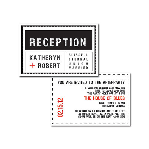 Tag, You're it! Reception / Ceremony Card