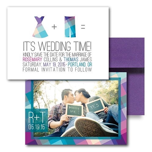 Rad in Plaid Save the Date + Envelope