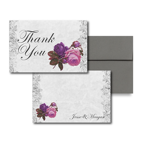 Spanish Rose Flat Thank You Note Card + Envelope
