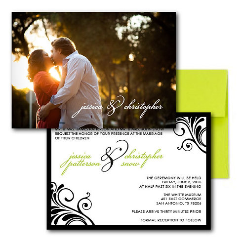 Flourish of the Pen Photo Invitation + Envelope