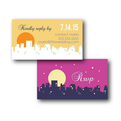 Night and Day Phone/Email RSVP Insert Card