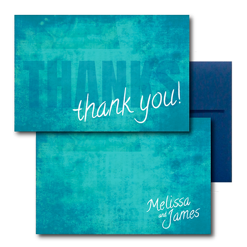Colorful Canvas Flat Thank You Note Card + Envelope