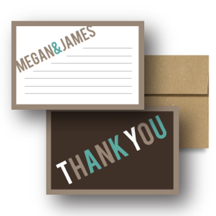 Up, Up, and Away Flat Thank You Note Card + Envelope