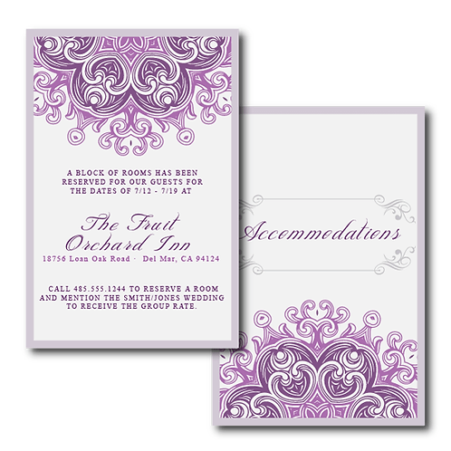 Lovely Lace Accommodations / Info Card
