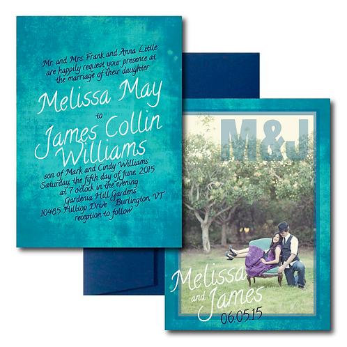 Colorful Canvas Photo Invitation + Envelope