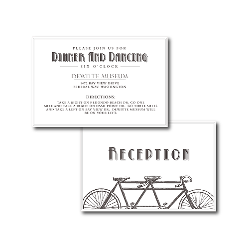 Love is a Two Seater Reception / Ceremony Card