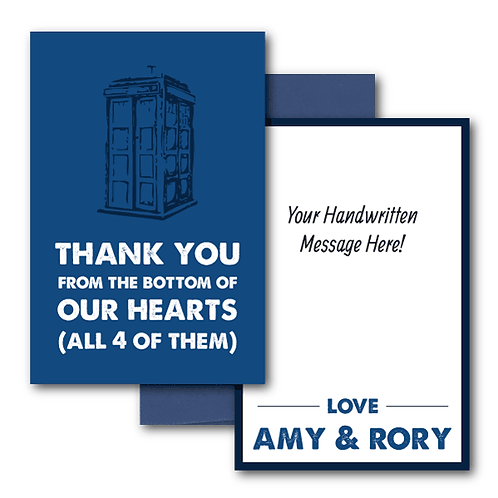 Dr. Who Flat Thank You Note Card + Envelope