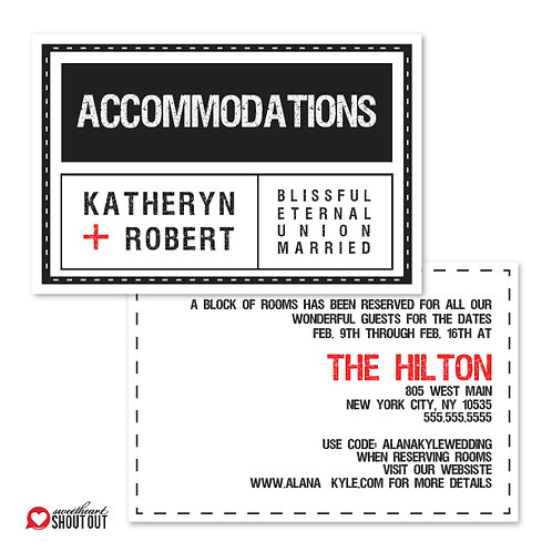 Tag, You're it! Accommodations / Info Card