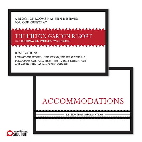 Our Love Story Accommodations / Info Card