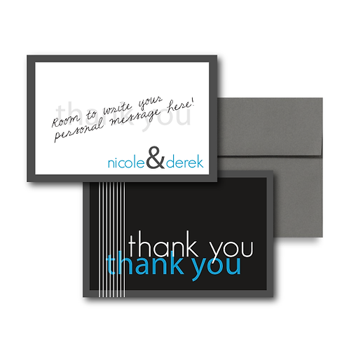Black Tie Flat Thank You Note Card + Envelope