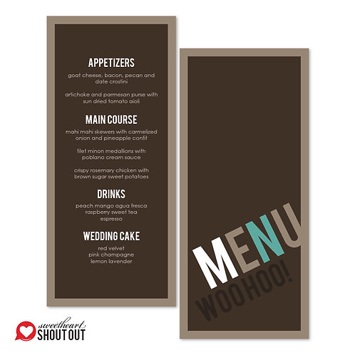 Up, Up, and Away Menu