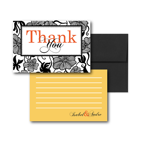 Garden Gala Flat Thank You Note Card + Envelope