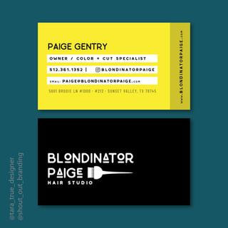 Blondinator Paige Hair Studio Business Card