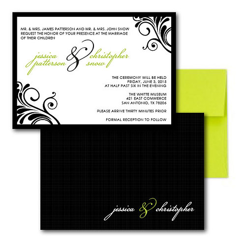 Flourish of the Pen Standard Invitation + Envelope