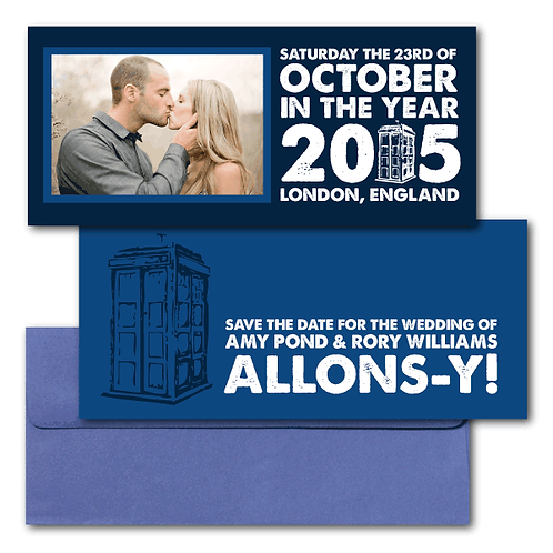 Dr. Who Save the Date + Envelope