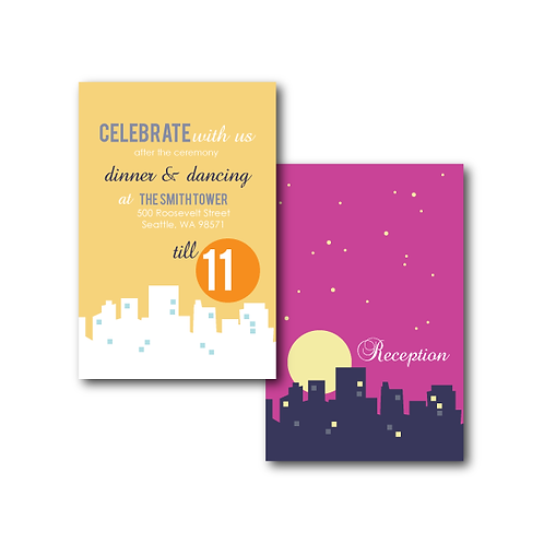 Night and Day Reception / Ceremony Card